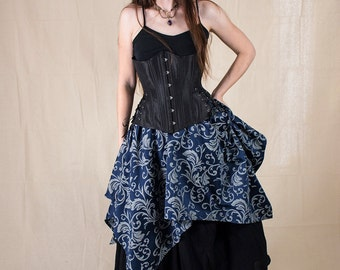 Navy Blue Brocade Pixie Skirt - Renaissance Clothing - Halloween Costume - Ren Faire Garb - Pirate Costume - Fairy Skirt - Medieval Clothing