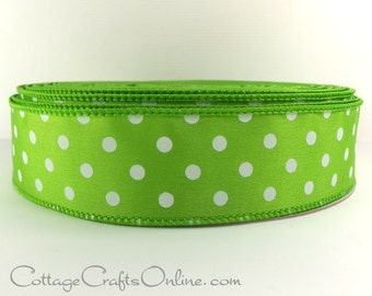"Wired Ribbon, 1 1/2"", Lime Green with White Polka Dots - FIFTY YARD ROLL - Offray Ribbon, Spring, Halloween, Christmas Wire Edged Ribbon ff"