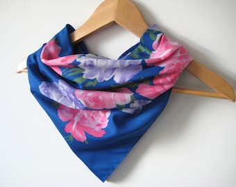 Vintage Scarf Blue Flower Floral Pretty Summer Roses Vintage Scarf Designer Olga Greco