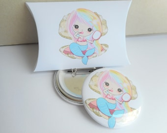 """Badge large 58 mm """"Mermaid on shell"""" white, pink, blue, multicolored, girl, child, anniversary, gift"""