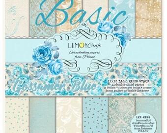Lemoncraft Gossamer Blue Basic 12x12 Scrapbook Paper Stack