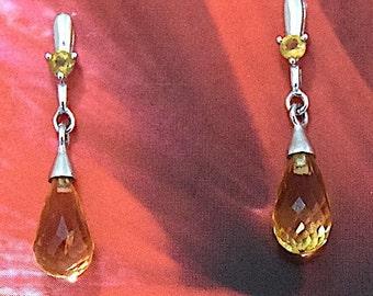 Citrine Earring, 14KT White Gold Citrine Post Earring, E5457