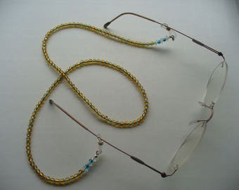 Beaded Eyeglass Holder, Blue and Gold Glass Beads, Reading Glasses Chain, Eyeglass Leash, Necklace, Sunglass Holder, Eyeglass Necklace
