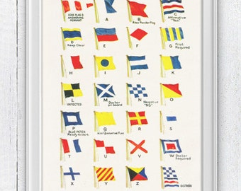 Nautical code flags 2 - Wall decor Poster - Vintage Yachting Print  - Nautical pennants NTC041