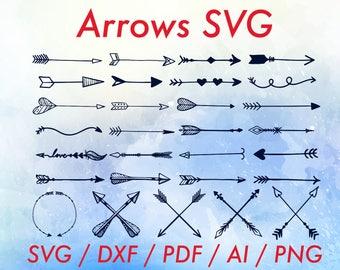 Boho arrows clipart / Tribal arrow vector / Crossed arrows / Boho arrow clipart / Arrow vector / Tribal arrows svg