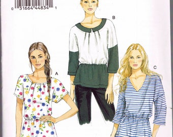 Size 14-22 Misses' Easy Plus Size Tunic Top Sewing Pattern - Drawstring Waist Tunic Top - Scoop Neck Tunic Top - Vogue V8880