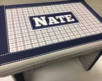 Little Boy's Bench/Stool- Gray Plaid and Navy Blue- Great 1st Birthday Gift
