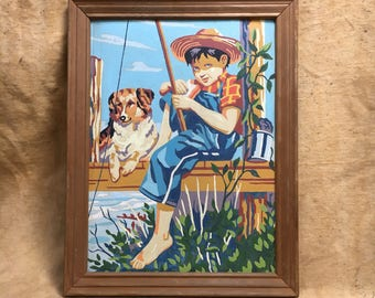 Paint By Number Boy Fishing Dog, Vintage Painting Mid Century Boy Portrait Huckleberry Finn