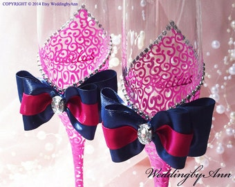 Fuchsia and Navy Blue Wedding Glasses, Fuchsia Toasing Flutes, Wedding Champagne Flutes, Bride And Groom, Bridal Shower gift