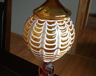 Vintage Nailsea Art Glass Amber Cameo Lidded Compote