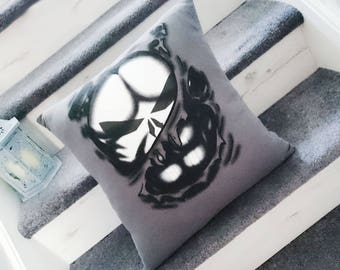 Punisher Skull Logo cushion pillow marvel super hero character cushion up-cycled recycles t-shirt pillow