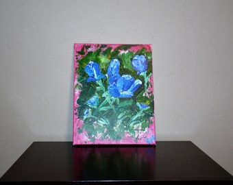 Blue Floral Canvas Art -Handmade Impasto Style Palette Knife Painting