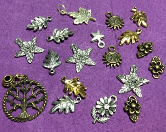 Tree and Leaves Pewter Charms Mixture Silver and Gold