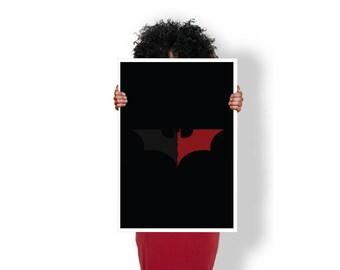 Batman Symbol Black Red Bat Signal - Art Print / Poster / Cool Art - Any Size