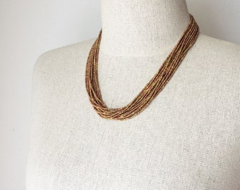 Statement necklace seed bead necklace beaded necklace brown necklace boho jewelry multistrand necklace bridesmaid necklace gold necklace