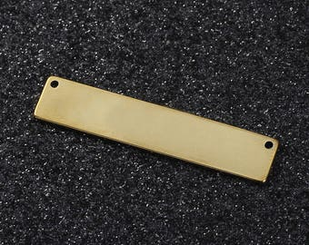 3 connectors in the shape of Rectangle stainless steel 304 Gold 3.9 cm
