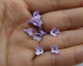 Small lilac polymer clay flowers, 20 psc, Polymer clay flower bead, Polymer clay beads