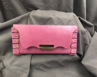 Pink Leather Clutch Fun evening clutch