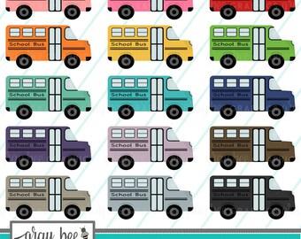 SALE! School Bus- Clipart Set, Commercial Use, Instant Download, Digital Clipart, Clip Art, Planner Clip Art- MP228