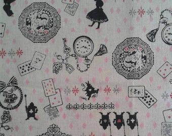 Kawaii Alice In Wonderland Fabric Japanese Lolita Fabric Natural Cotton Fabric White Rabbit Cheshire Cat Playing Cards Steampunk Fabric BTY