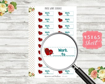 Nurse Work Schedule Planner Stickers - Medical Planner Stickers - Nurse Stickers - Nurse Planner Stickers - H188