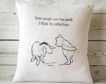 "Some people care too much.. -  16"" Cushion Pillow Cover Winnie the Pooh - UK Handmade"