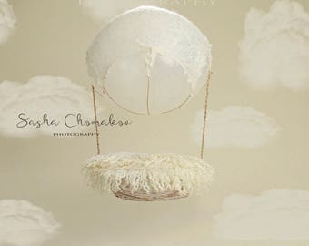 digital backdrop  background newborn baby girl or boy hot air baloon