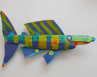 Fish Art Recycled Painted Wood Mixed Media Fish Art Sculpture - Original Handmade Colorful Whimsical Fish Art