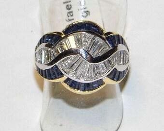 ORO 18kt anello oro diamanti zaffiri sapphire diamonds gold ring Saphir-Diamanten Goldring