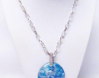 Aqua & Gold Round Glass Pendant Necklace