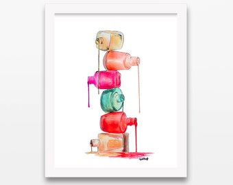 Nail Polish Dripping in Color Print | Wall Art, Watercolor Painting, Fashion Illustration, Nailpolish Drawing, Makeup Gift, Women & Girls