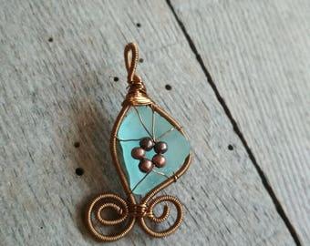 Metal beads jewelry, genuine sea glass, Sea glass pendant, Birthday gift, wire wrapped pendant, genuine sea stone, beach copper pendant