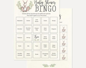 Greenery and Bunny Baby Shower Games Printable, Baby Shower Printable Games, DIY Baby Shower Games, Instant Download Baby Shower Game