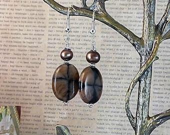 Handmade Andalusite & Pearl Earrings