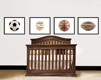 Vintage Football, Baseball, Soccer and Basektball Set of Four on White Photo Prints,Vintage Sports Nursery, Boys Room, Man Cave
