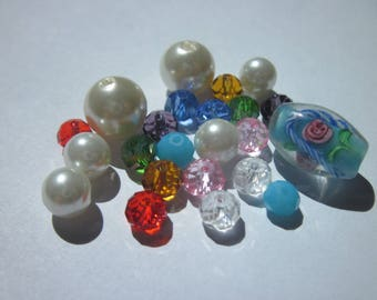 23 round and oval glass beads multicolor (PV58-12)