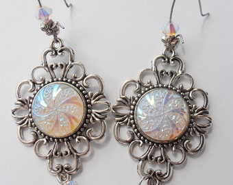 Vintage Aurora Borealis Glass Cabochon Earrings with Swarovski Crystal accents