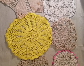 Vintage handmade doilies lot of 17