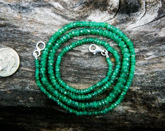 Emerald necklace - Natural Emerald micro facet  - Natural Emerald Necklace 3-7mm Rondelle Necklace - May Birthstone Emerald Necklace Emerald