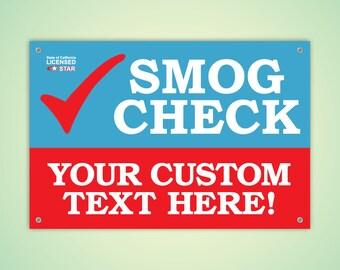 Customizable Premium Smog Check Banner (Indoor/Outdoor) FREE SHIPPING!