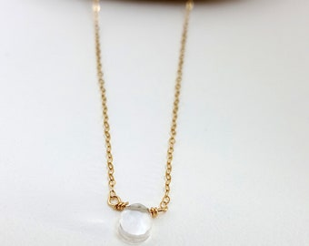 Crystal Quartz April Birthstone Necklace