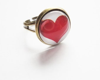 Ring Heart red adjustable