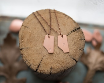 Small Copper Alberta Necklace Stamped with a Tiny Heart over Edmonton or Calgary