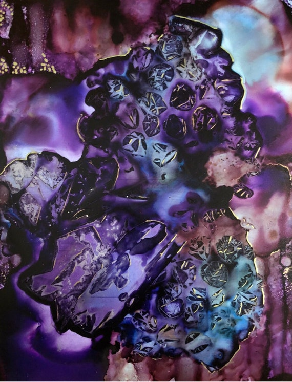 """Original Alcohol Ink Abstract Painting: """"New Dimension"""""""