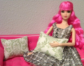 Lime Green Damask Set of 2 Doll Pillows for Blythe, Monster High, Barbie, Fashion Royalty, Momoko