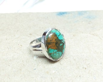 Natural Turquoise ring, sterling silver ring, gemstone ring, 925 silver ring, handmade ring, gift for her, statement ring size 7