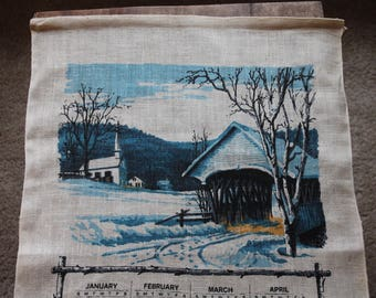 Vintage Linen Tea Towel, 1969 Calendar, Covered Bridge, Winter Landscape, Blue, Calendar Tea Towel, 26 x 16