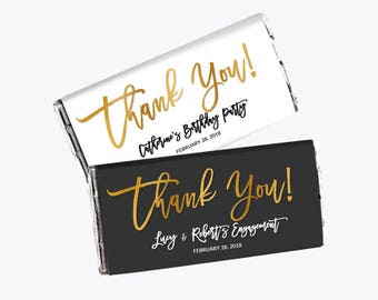 Gold Thank You! Customized Candy Bar Wrapper, Regular Chocolate Label - More Occassion - Black-White & Gold Foil - DIY Print, Printable PDF