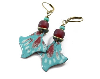 Handmade Earrings,  Enameled Earrings, Brass Earrings, Teal and Dark Red Earrings, Artisan Earrings, Boho Earrings, OOAK Earrings,  AE206
