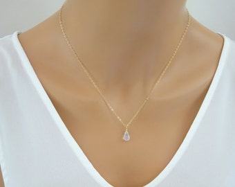 Moonstone teardrop necklace, Gold moonstone pendant, Moonstone Jewelry, Jewelry Gift idea for wife, Best friend, Sister, grandmother